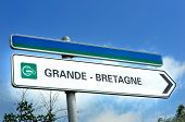 Sign Pointing Towards The Chunnel To Grand Bretagne Or Great Britain