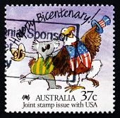 Postage Stamp Australia 1988 Caricature Of Koala And Bald Eagle