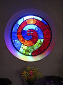 stock photo of stained glass  - artistic colorful spiral stained glass window - JPG