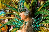 Sesimbra, Portugal - February 12, 2013: Image of a Passista Samba Dancer. The Passista is the sexies