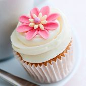 picture of sugarpaste  - Cupcake decorated with a pink sugar flower - JPG