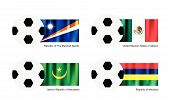 Soccer Ball With Marshall Islands, Mexico, Mauritania And Mauritius Flag