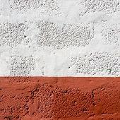 stock photo of stippling  - Red and white painted wall texture - JPG