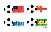 stock photo of sark  - An Illustration of Soccer Balls or Footballs with Flags of Samoa Sark San Marino and Sao Tome and Principe on Isolated on A White Background - JPG