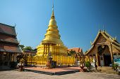 Lanna style chedi in Wat Phra That Hariphunchai temple, Lamphun, Chiang Mai, Thailand