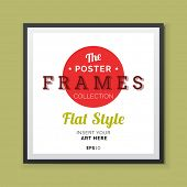 Flat styleVector Poster Frame with transparent shadows