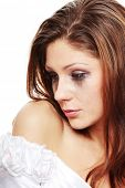 image of nervous breakdown  - Beautiful young caucasian sad bride crying - JPG