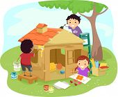 Illustration of Kids Building a Play House Together