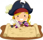 stock photo of plunder  - Illustration of a Little Girl Dressed in a Pirate Costume Looking at a Map - JPG