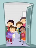Illustration of a Group of Kids Carrying Notebooks Welcoming the New Arrivals at the Door