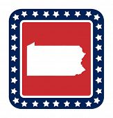 Pennsylvania state button on American flag in flat web design style, isolated on white background.