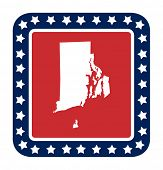 Rhode Island state button on American flag in flat web design style, isolated on white background.