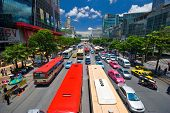 BANGKOK, THAILAND - JULY 30, 2007: The big automobile stopper on one of the central streets of Bangkok. The basic problem of the Asian megacities - the complicated traffic.