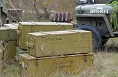 KIEV, UKRAINE -NOV 1:The Soviet ammo boxes in the Red Army reenactors' camp during during historical reenactment of WWII, Dnepr river crossing 1943, November 1, 2013 Kiev, Ukraine