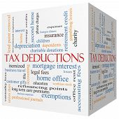 foto of depreciation  - Tax Deductions 3D cube Word Cloud Concept with great terms such as mortgage dependents fees and more - JPG