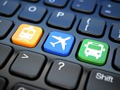 Online booking  tickets to train, bus or airplane. Laptop keyboard, 3d