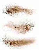 Isolated brown make-up powder on white background