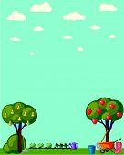 stock photo of root-crops  - Vintage garden banner with root veggies vector illustration - JPG