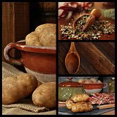 Rustic kitchen collage includes images of potatoes in a stoneware bowl being prepared for cooking, a
