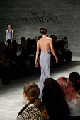 NEW YORK-FEB 8: A model walks the runway at the Kati Stern Venexiana fashion show during Mercedes-Be