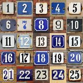 House numbers 1 to 25