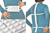 picture of lumbar spinal stenosis  - woman wearing to back device for massaging of backbone - JPG