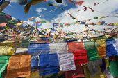 Prayer Flags With Stupas - Kunzum La Pass - Himachal Pradesh - India