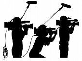 Cinegrafistas no local de trabalho