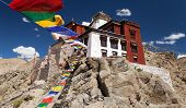 foto of jammu kashmir  - Namgyal Tsemo Gompa with prayer flags  - JPG