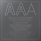 Three Outline Stitch Font And Numbers, Eps 10 Vector