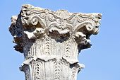 Old pillar close up at Volubilis in Morocco. Volubilis is a partly excavated Roman city in Morocco  It was developed from the 3rd century BC onwards as a Phoenician Carthaginian settlement