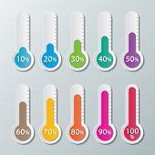 image of 100 percent  - colorful infographics paper thermometer with 10 - JPG