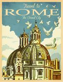 Travel to Rome Poster - Vintage travel advertisement with St. Peter's Basilica in Rome, against the white clouds and doves; hand drawn vector illustration