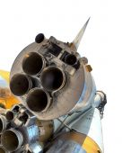 space rocket. nozzle of the ship can be seen close up.