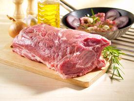 stock photo of shoulder-blade  - Raw Pork Shoulder Square Cut on kitchen cutting board - JPG