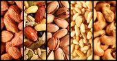 Collage showing different kind of fresh nuts like almond, pistachio, cashew and peanuts