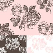 Retro-styled  pattern with hand drawn roses