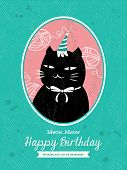 picture of kawaii  - Cat Animal Cartoon Birthday card design Vector - JPG