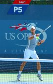 Professional tennis player Novak Djokovic practices for US Open 2013