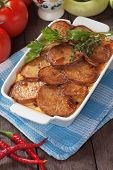 Moussaka dish with potato and chili pepper, traditional balkans food