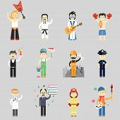 stock photo of fireman  - Set of vector characters in different professions including martial arts  musicians  waiter  painter  construction worker  policeman  doctor  professor  fireman and artist - JPG