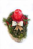 Advent Spray With Red Candle, Golden Ribbon And Jew Branch With Berries
