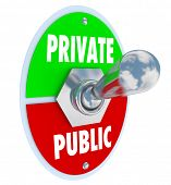 Private vs Public words on a toggle switch to flip between privacy and shared information on a websi