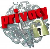 Privacy word in red 3d letters on a ball or sphere of metal chain links and a lock as secured inform