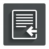 Import file icon. File document symbol.