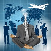 Relax travel concept. Vector lamp head businessman in lotus pose meditating