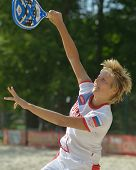 MOSCOW, RUSSIA - JULY 17, 2014: Daria Churakova of Russia on the training during the ITF Beach Tenni