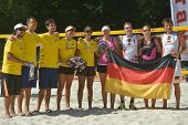 MOSCOW, RUSSIA - JULY 19, 2014: Teams Brazil and Germany before the semi-final match during ITF Beac