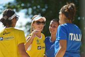 MOSCOW, RUSSIA - JULY 20, 2014: Women's doubles of Brazil and Italy after the final match of ITF Bea