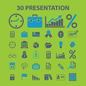 presentation, marketing icons set, vector
